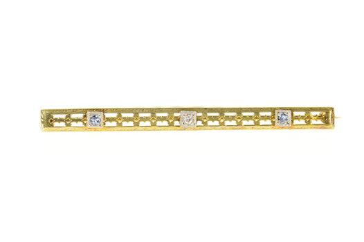 14K Art Deco Diamond Sim. Tanzanite Pierced Bar Yellow Gold Pin/Brooch