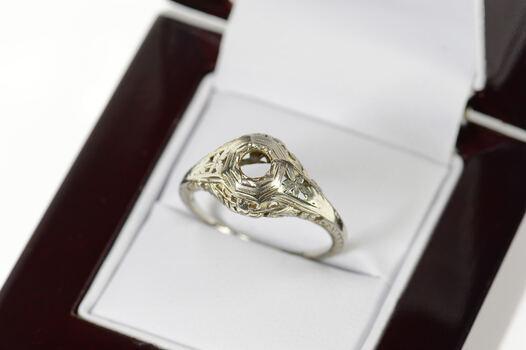 14K Art Deco Filigree 3.5mm Engagement Setting White Gold Ring, Size 6.5