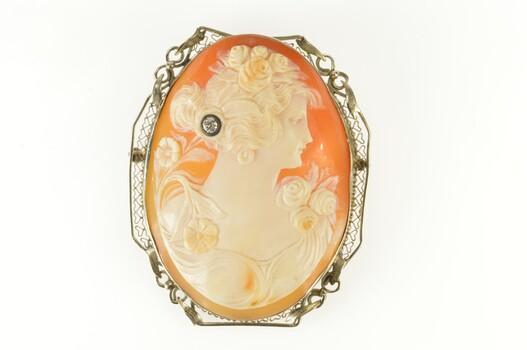 14K Art Deco Filigree Carved Cameo Diamond Lady White Gold Pin/Brooch