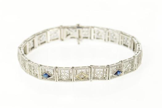 """14K Art Deco Filigree Diamond Syn Sapphire White Gold Bracelet 6.75"""""""