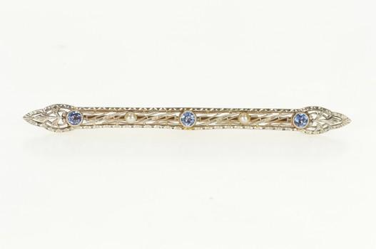 14K Art Deco Filigree Iolite Seed Pearl Ornate Bar Yellow Gold Pin/Brooch