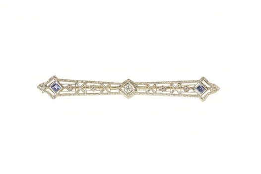 14K Art Deco Floral Filigree Diamond Sapphire White Gold Pin/Brooch