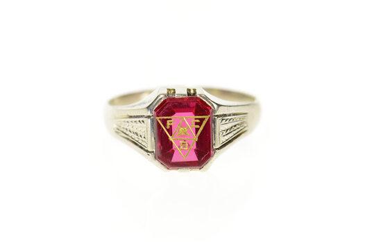 14K Art Deco Knights of Pythias Syn. Ruby Men's White Gold Ring, Size 11