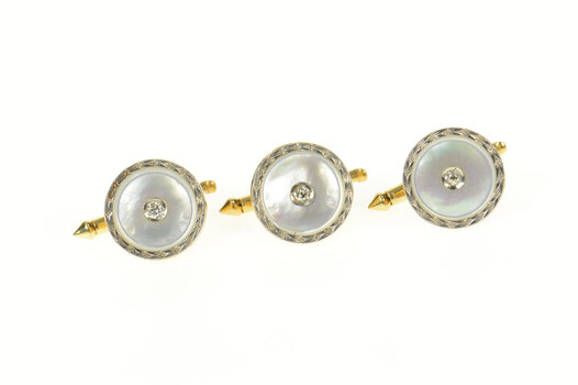14K Art Deco Mother of Pearl Diamond Tuxedo Buttons Yellow Gold Cuff Links
