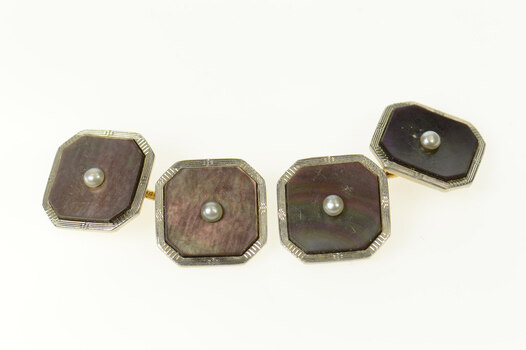 14K Art Deco Mother of Pearl Seed Pearl Tuxedo Yellow Gold Cuff Links