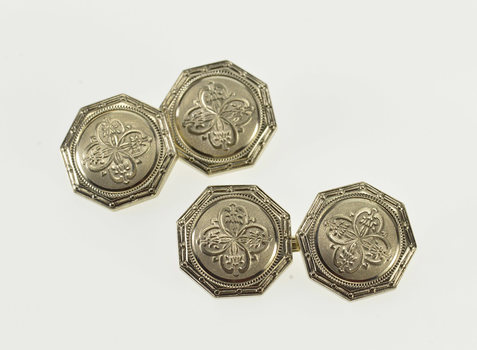 14K Art Deco Octagonal Floral Patterned Ornate White Gold Cuff Links