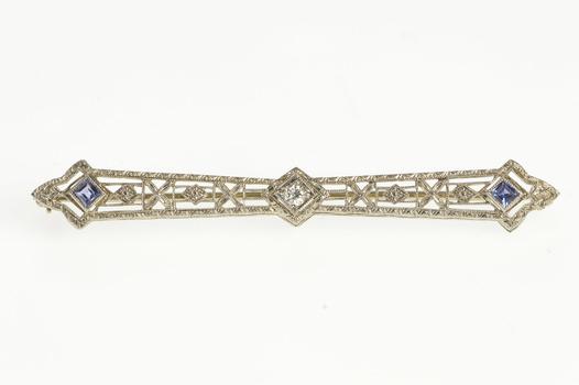 14K Art Deco Ornate Filigree Diamond Iolite Bar White Gold Pin/Brooch