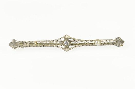 14K Art Deco Ornate Filigree Diamond Pearl Bar Yellow Gold Pin/Brooch