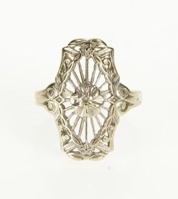 14K Art Deco Ornate Floral Filigree Diamond White Gold Ring, Size 4