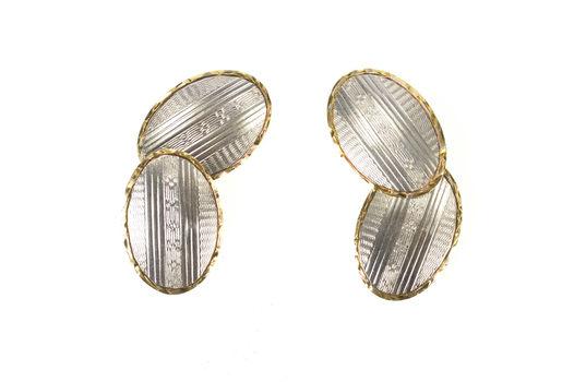 14K Art Deco Pinstriped Pattern Men's Oval Yellow Gold Cuff Links
