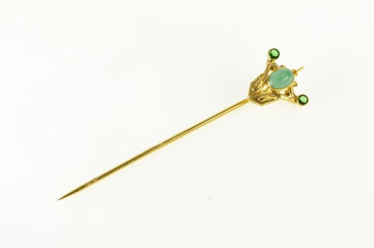 14K Art Deco Turquoise Syn. Emerald Ornate Yellow Gold Stick Pin