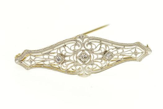 14K Art Deco Two Tone Ornate Diamond Filigree Bar Yellow Gold Pin/Brooch