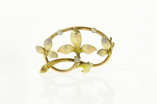 14K Art Nouveau Diamond Seed Pearl Enamel Floral Yellow Gold Pin/Brooch