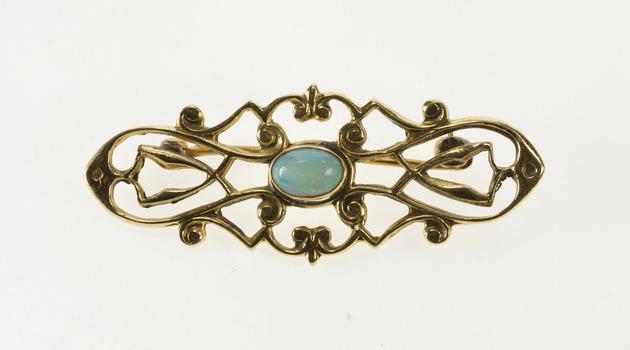 14K Art Nouveau Oval Natural Opal Ornate Swirl Yellow Gold Pin/Brooch