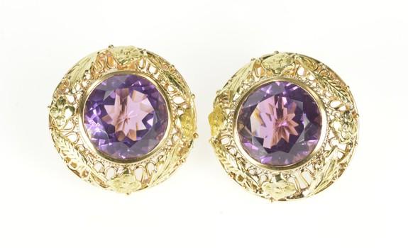14K Arts & Crafts Amethyst Flower Filigree Screw Yellow Gold Earrings