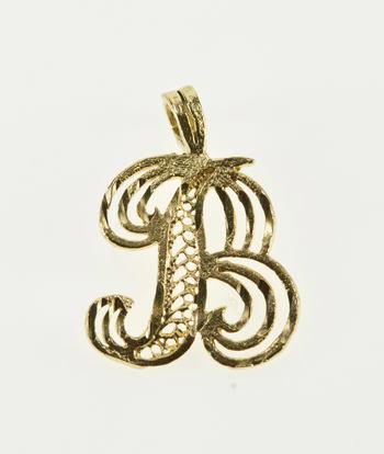 14K B Diamond Cut Cursive Letter Initial Monogram Yellow Gold Charm/Pendant
