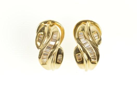 14K Baguette Diamond Criss Cross French Clip Yellow Gold Earrings