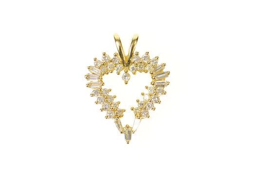 14K Baguette Diamond Heart Love Symbol Yellow Gold Pendant