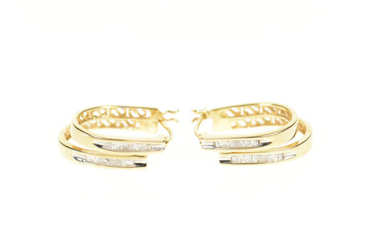 14K Baguette Diamond Layered Look Oval Hoop Yellow Gold Earrings