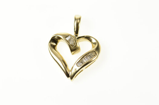 14K Baguette Diamond Wavy Heart Love Yellow Gold Pendant