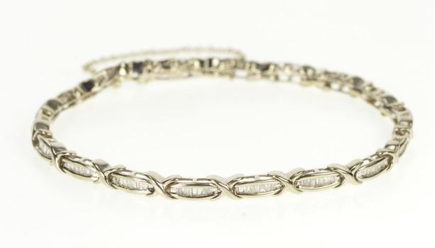 """14K Baguette Diamond X Link Bar Tennis White Gold Bracelet 7.25"""""""