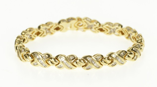 "14K Baguette Diamond X Link Hugs & Kisses Tennis Yellow Gold Bracelet 7"""