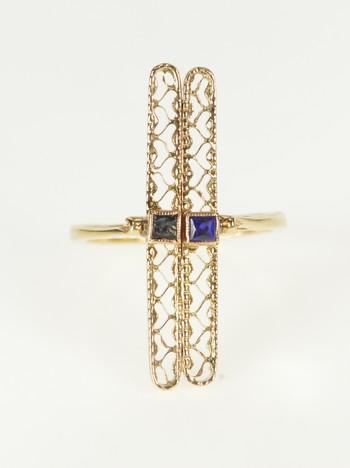 14K Bar Filigree Retro Syn. Sapphire Statement Yellow Gold Ring, Size 4