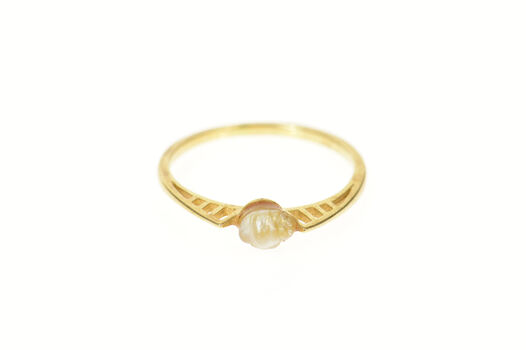 14K Baroque Blister Pearl Geometric Bridge Yellow Gold Ring, Size 5.75