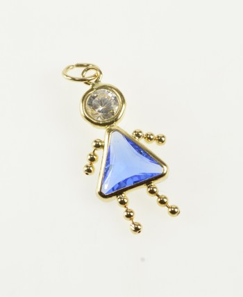14K Birthstone Baby Sim. Sapphire September Yellow Gold Charm/Pendant