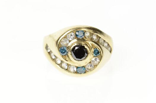 14K Black Blue Diamond White Sapphire Men's Swirl Yellow Gold Ring, Size 13.5