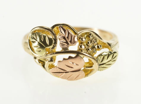 14K Black Hills Two Tone Leaf Pattern Cluster Yellow Gold Ring, Size 7.75