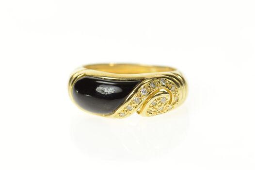 14K Black Onyx Inlay Diamond Swirl Statement Band Yellow Gold Ring, Size 6.5