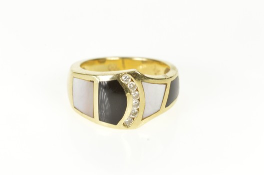 14K Black Onyx Mother of Pearl Diamond Band Yellow Gold Ring, Size 6.5