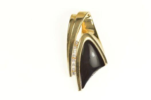 14K Black Onyx Ornate Diamond Channel Statement Yellow Gold Pendant
