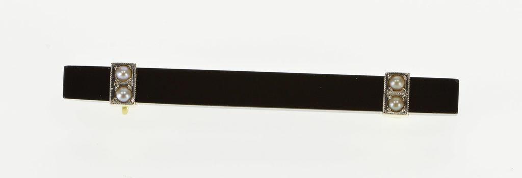 14K Black Onyx Pearl Inset Squared Bar Yellow Gold Pin/Brooch