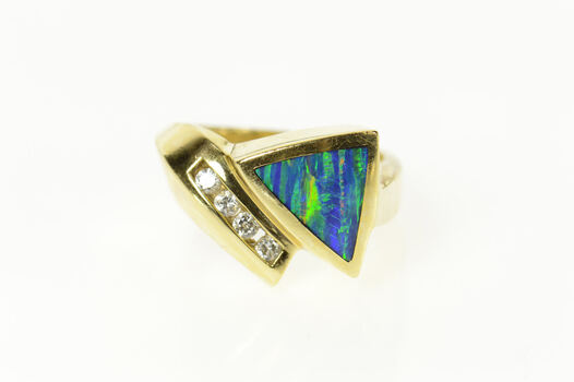 14K Black Opal Inlay Diamond Accent Geometric Yellow Gold Ring, Size 7