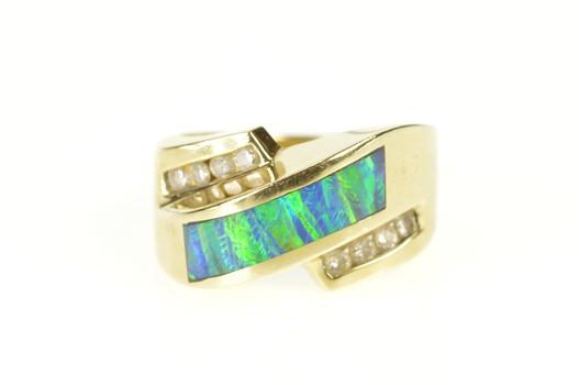 14K Black Opal Inlay Diamond Bypass Statement Yellow Gold Ring, Size 5.75