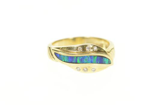 14K Black Opal Inlay Diamond Bypass Statement Yellow Gold Ring, Size 7