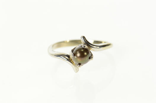 14K Black Pearl Classic Retro Bypass Statement White Gold Ring, Size 6.25