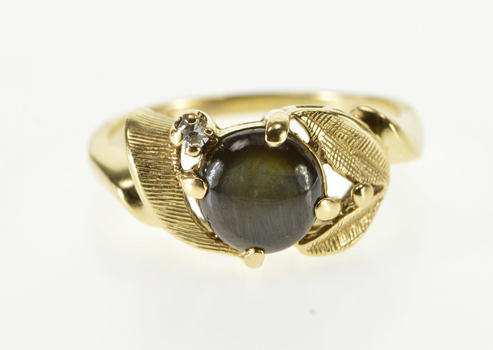 14K Black Star Sapphire Diamond Accented Leaf Yellow Gold Ring, Size 5.5