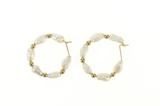 14K Blister Pearl Beaded Statement Hoop Yellow Gold Earrings