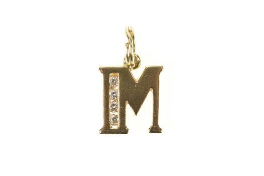 14K Block Letter M Monogram Initial CZ Initial Yellow Gold Charm/Pendant