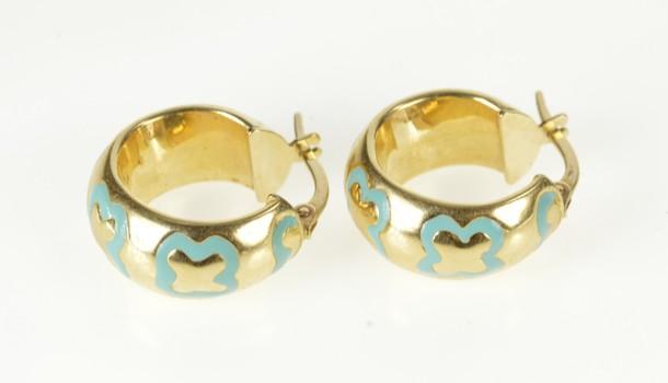 14K Blue Enamel Trefoil Pattern Fashion Hoop Yellow Gold Earrings