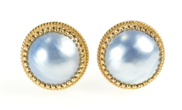 14K Blue Pearl Round Ornate Trim Statement Yellow Gold Earrings
