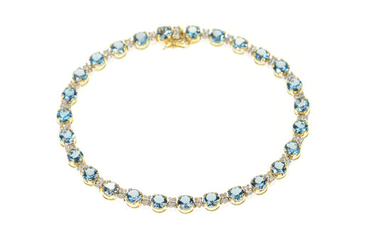 "14K Blue Topaz Diamond Accent Classic Tennis Yellow Gold Bracelet 7.25"""