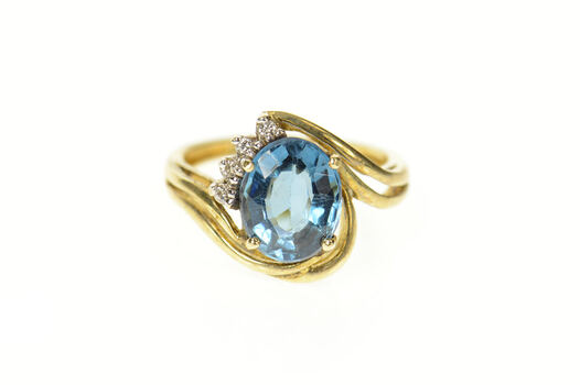 14K Blue Topaz Diamond Accent Orante Bypass Yellow Gold Ring, Size 6