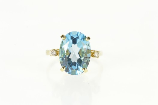 14K Blue Topaz Oval Diamond Accent Cocktail Yellow Gold Ring, Size 6.75