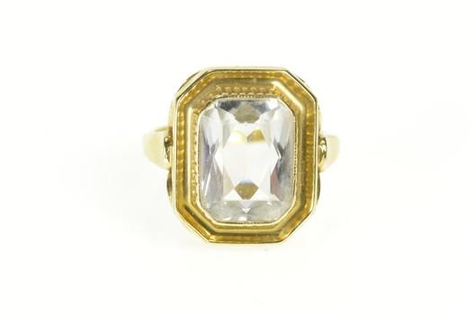 14K Brilliant Cut Syn. Aquamarine Ornate Cocktail Yellow Gold Ring, Size 6.25