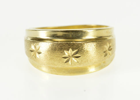 14K Brushed Finish Starburst Pattern Rounded Band Yellow Gold Ring, Size 8.5