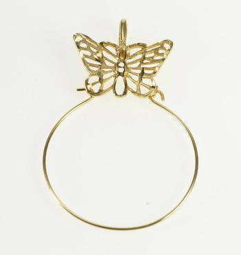 14K Butterfly Filigree Charm Loop Holder Yellow Gold Pendant